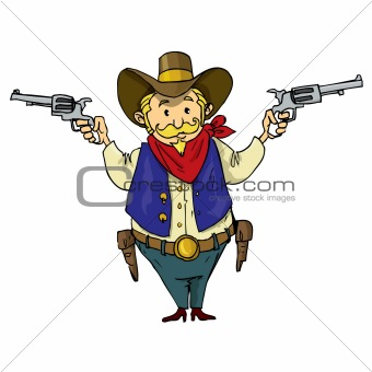 Cartoon cowboy with six-guns