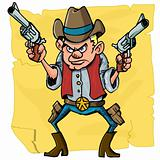 Cute cartoon cowboy holding sixguns