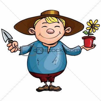 Cartoon gardener with pot plant