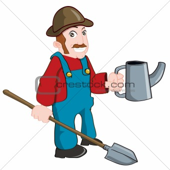 Cartoon farmer with a watering can