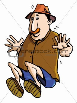 Cartoon farmer jumping in surprise