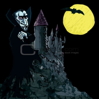 Cartoon Vampire with a castle in the background