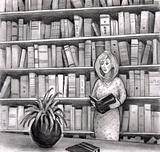 Woman reading a book in a library.