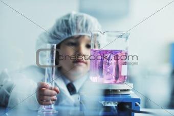 little child scientist in lab