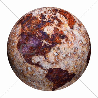 Terrestrial globe - corrosion stains on iron
