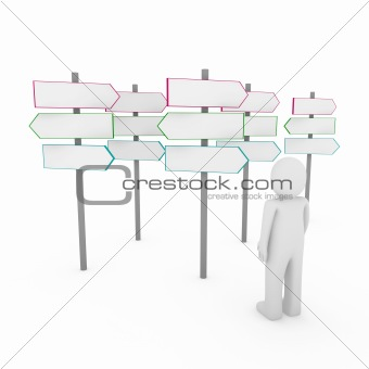 3d human man way sign