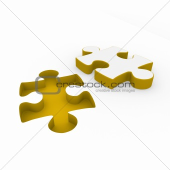 3d puzzle yellow white