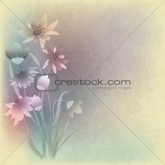abstract grunge composition with flowers