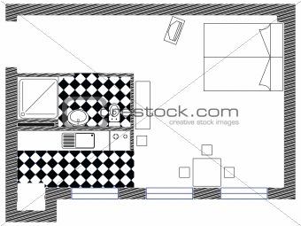 one room vector sketch