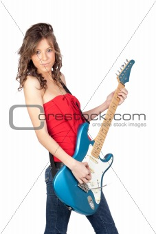 Beautiful girl with a electric guitar