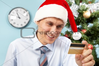 Santa with card