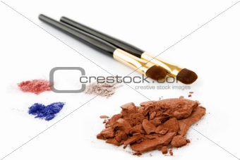powder for makeup and two brush