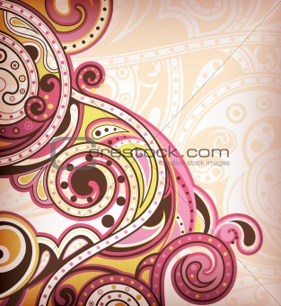 Abstract Pink Floral Scroll