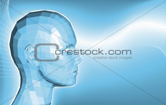 Futuristic 3d face business background