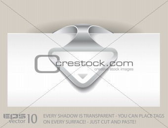 Paper arrow tag with TRANSPARENT shadows