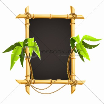 bamboo frame with tropical palms