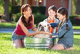 Mother Son &amp; Daughter Family Washing Pet Dog In A Tub
