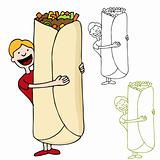 Man Holding Giant Burrito