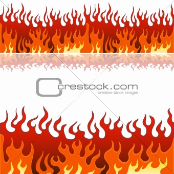 Image Description: An image of a set of flame fire banner borders.
