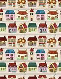 seamless cartoon house pattern
