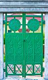 Green iron door