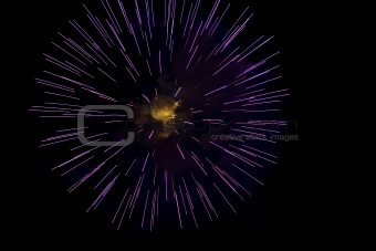 A burst of purple fireworks against a night sky.