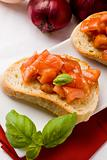 Bruschetta with ingredients