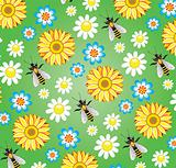 vector seamless background with bees and flowers