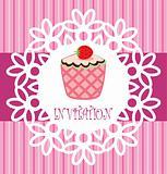 vector retro cupcake card