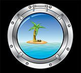 metal porthole and palm tree 