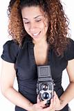 Woman Using Vintage Antique Camera