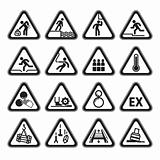Set of Triangular Warning Hazard Signs black
