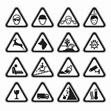 Warning Safety Signs Set black