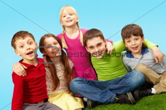 Kids on grass