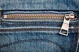 Closeup shot of jeans zipper