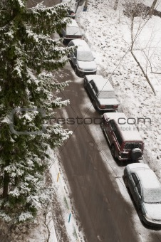 car parking near the house in winter