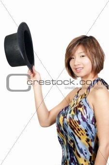 Asian Woman Wearing a Top hat