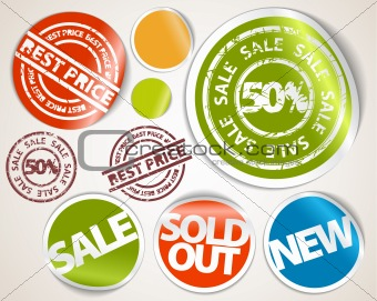 Set of labels and stickers - sale and best price