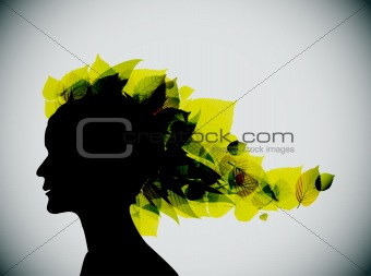 Foliage girl head silhouette