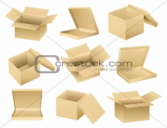 Vector collection of open empty boxes