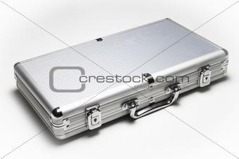aluminum suitcase isolated on white background