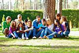 Group of students under the tree