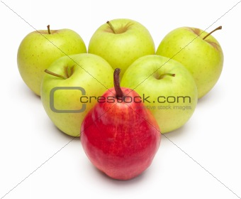 A ripe red pear and green apples