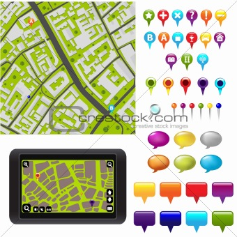 GPS Icons And Map