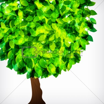 Vector fresh spring foliage background.