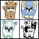 Vector Set of Little Animals - Farm.