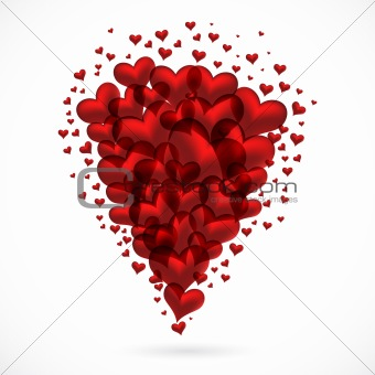 abstract bouquet of red hearts flying up, vector poster.