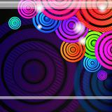 Colourful rings on a black background, vector design.