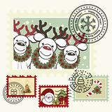 Series of stylized Christmas post stamps.