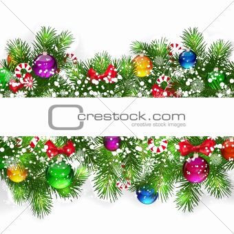 Christmas background with snow-covered branches.